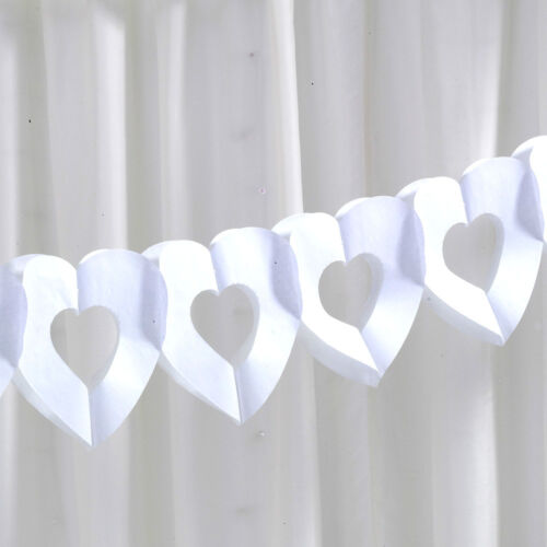 WHITE HEART GARLAND Tissue Paper CHIC BOUTIQUE Wedding Party Engagement 2.5m