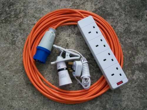 CAMPING ELECTRIC HOOK UP 14 MTR 2 MTR CLIP ON LIGHT