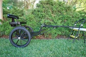 """Easy Entry Small Mini Horse Cart Metal Floor w/45"""" Shafts w/18"""" Motorcycle Tires"""