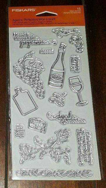 Fiskars Aged To Perfection Clear Stamp Set Wine Cheese Sentiments Cardmaking