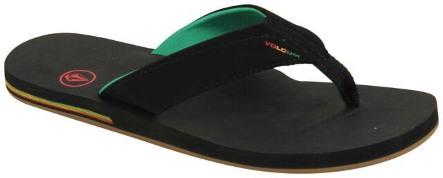 6518f67c9 Volcom Men s Victor Sandals Flip Flops Rasta Jah Black 12