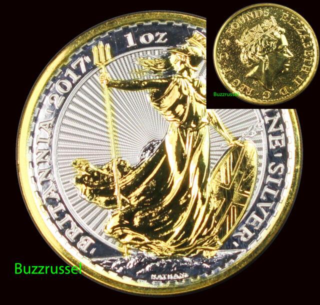 2017 Great Britain 1 oz Silver Britannia BU Coin $2 24K Gold Gilded BOTH SIDES