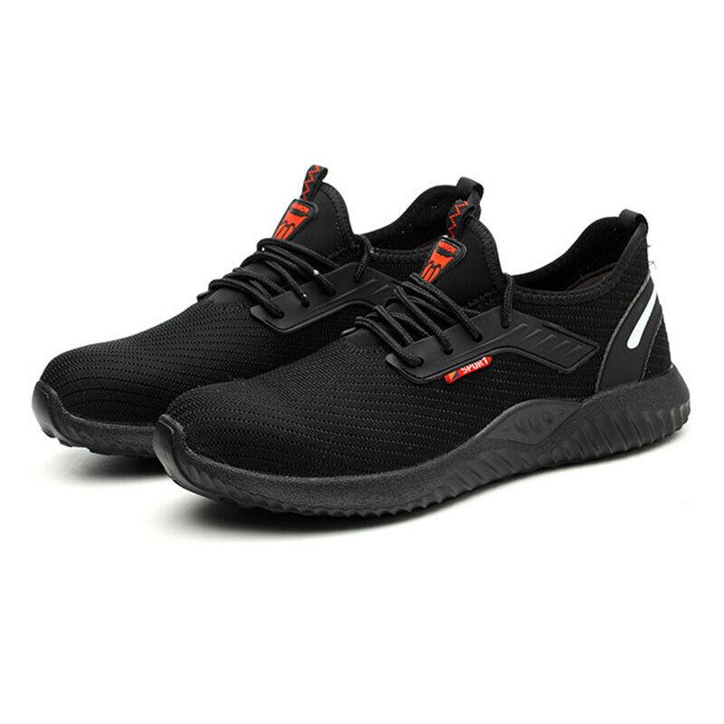 Mens Womens Hiking Sport Sneaker Black Steel Toe Cap Work Boots Safety Shoes Uk