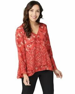 H-by-Halston-Womens-Printed-V-Neck-Double-Layer-Flounce-Top-0-Candy-Red-A350236