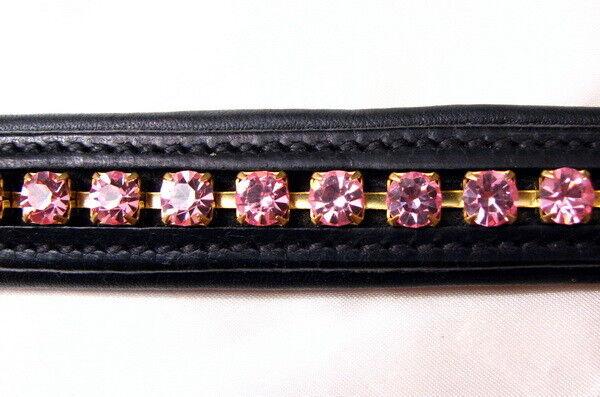 FSS 6mm Crystal LIGHT ROSE BABY Rosa V Bling Padded Curve V Rosa Browband Custom Made c67a10