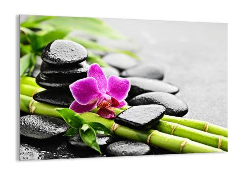 ARTE MODERNO Orchidea Pietre Bambù 30 FORME IT 2681 QUADRO SU VETRO