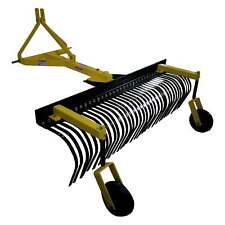 6 Landscape Rock Rake 3 Point Soil Gravel Lawn Tow Behind Tractor 6ft With Wheels