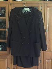 LE SUIT II Women's Sz. 18 W Brown Formal Long Skirt  Beaded Suit  100% Wool