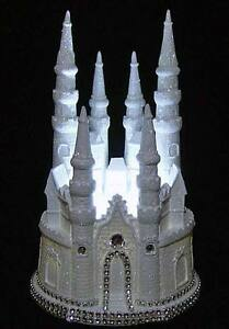 Image Is Loading DIAMOND CASTLE CINDERELLA WEDDING CAKE TOPPER  LIGHTED CENTERPIECE