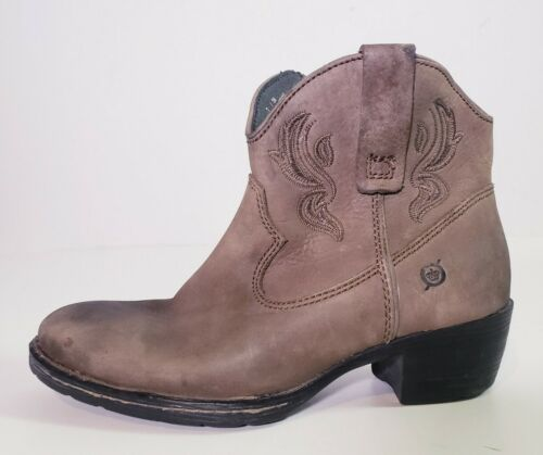 Ankle Boot shoe Brown western Leather slip on Bootie size 7