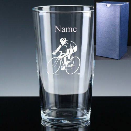 Personalised CYCLING Pint Beer Glass FREE ENGRAVING Road Bike Cycle Sportive