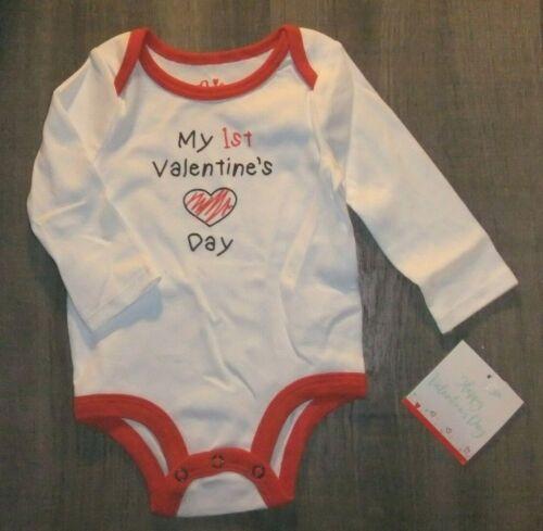 NWT Baby 0-3 3-6M Bodysuit MY 1ST VALENTINE/'S DAY Long Sleeve White