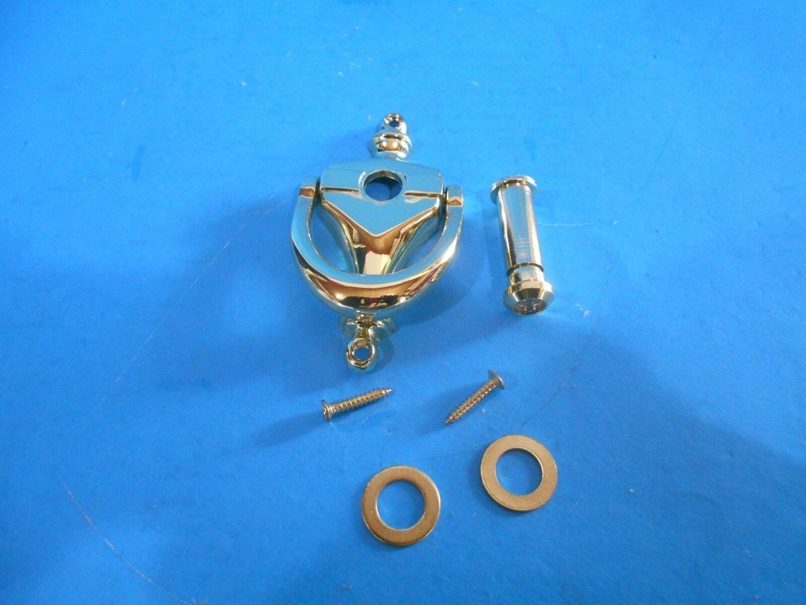 VK781 Bright Brass Door Knocker with 160/' Viewer