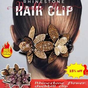 Rhinestone-Double-Flower-Hair-Clip-Flexible-Durable-Women-Hair-Dovetail-BEST2020
