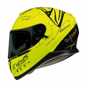 Yellow MT Thunder 3 SV Fractal Motorcycle Full Face Helmet Mat Black