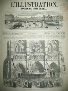 NOTRE-DAME-DE-PARIS-CEREMONIE-1er-JANVIER-CHEMN-DE-FER-DE-L-039-OUEST-GRAVURES-1852