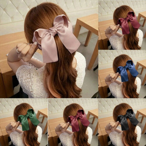 Fashion Women Cute Ribbon Bow Hair Band Large Satin Hair Clip Hairpin Headwear