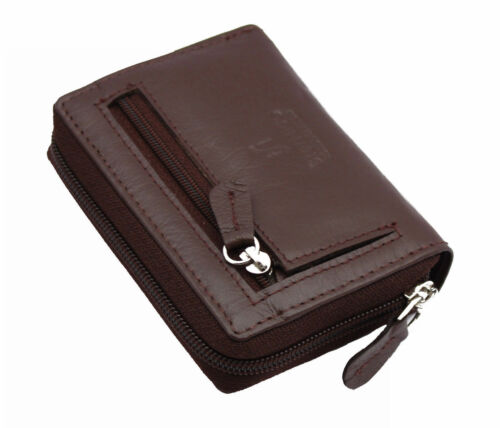 Ladies Full Zip Around Leather Concertina Card Holder Wallet ID Coin Purse Brown