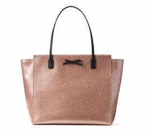 ef6e46cdb Kate Spade Taden Mavis Street Tote Bag Pink Rose Gold Glitter NWT ...