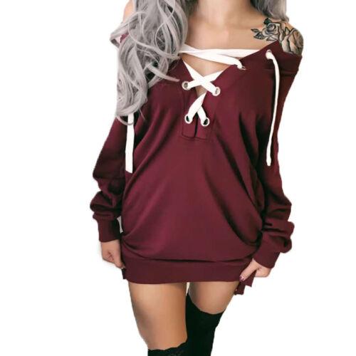 Womens Long Sleeve Off Shoulder Hoodies Ladies Sweatshirt Lace Up Pullover Dress