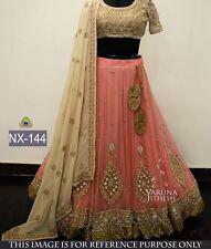 Designer Bridal  Party wear Gajri Color Unstitched Lehenga Choli