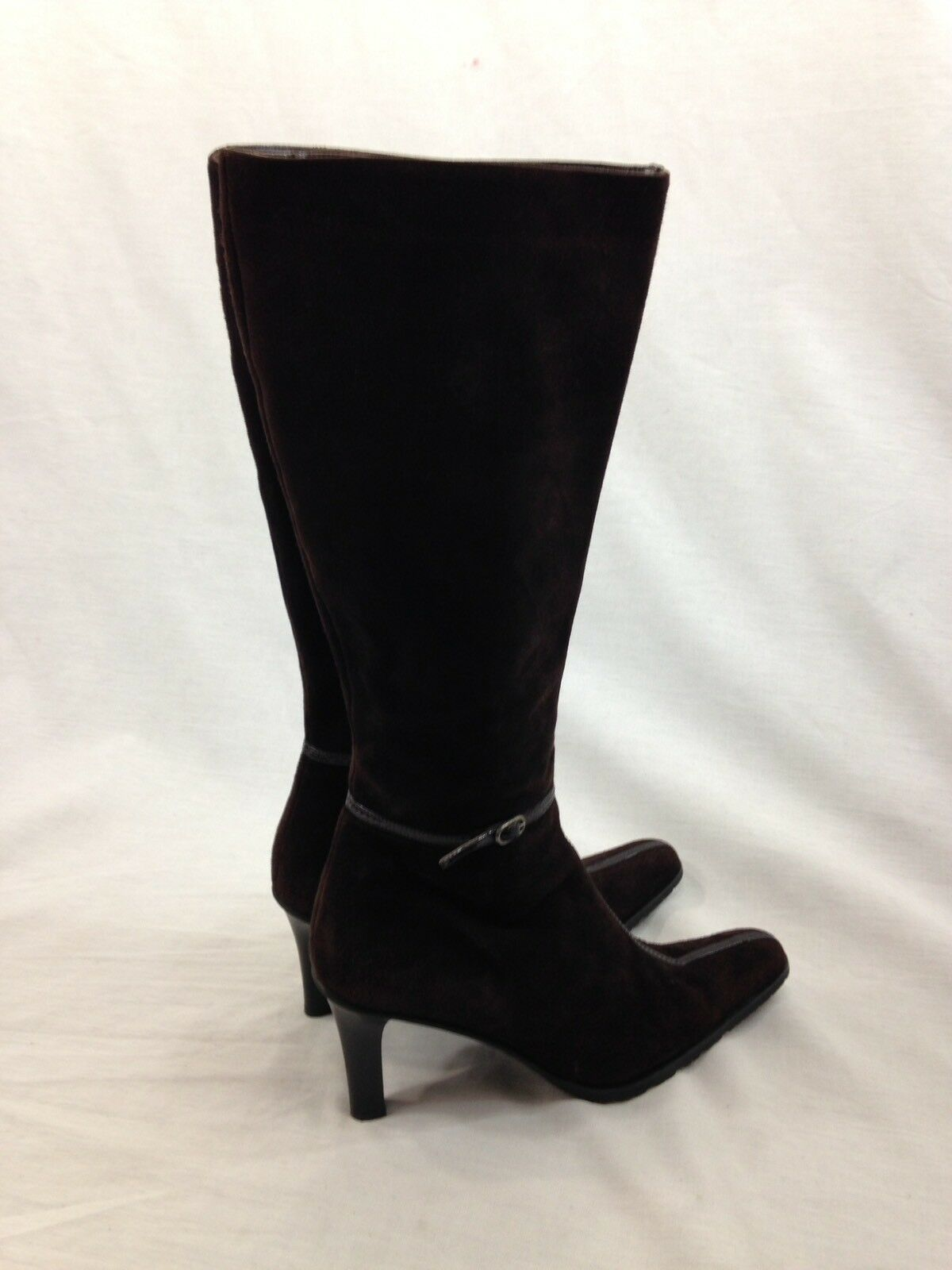 Bellofatto Boot Damens Tall 9 Braun Leder Suede Tall Damens Stiletto Side Zip Buckle  571996