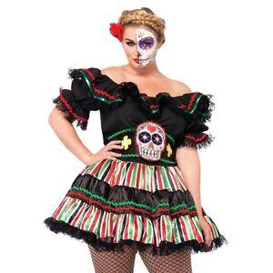 7c6ea94388e Plus Queen Size Sexy Dia De Los Muertos Girl Sugar Skull Halloween ...