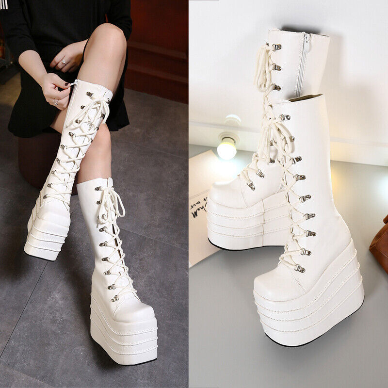 Gothic Womens 16CM Super High Heel Coplay Boots Lace Up Punk Platform shoes SIZE