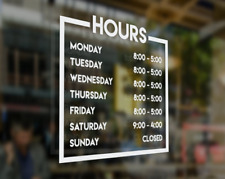 Store Hours Vinyl Decal Business Hours Decal For Storefront Storefront Decal