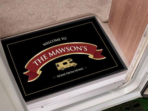 Personnalisé Camper Van ruban rouge étiquette en-porte tapis 60 x 40 cm