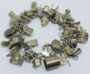 Vintage-Sterling-Silver-925-Charm-Bracelet-w-40-Charms