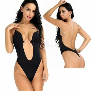 298d66ec1 Women Tummy Control Bodysuit Deep V Wedding Bra Underwear Body ...