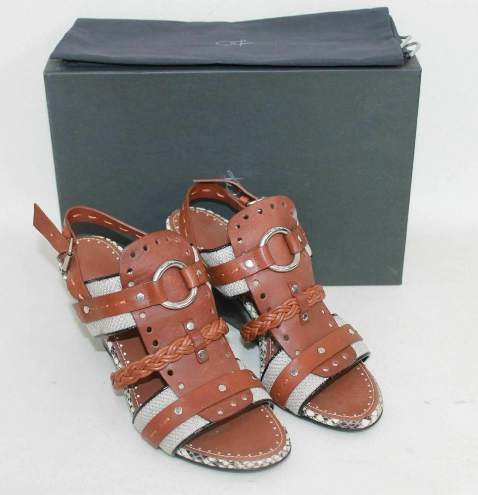 NEW PROENZA SCHOULER Ladies Brown Leather Heeled Strappy Sandals UK3 EU37