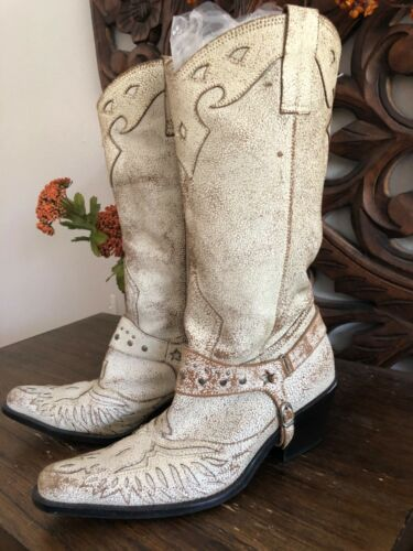 Vintage leather boots - rugged off white cowboy bo