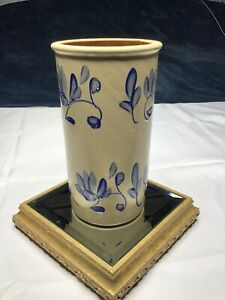 Studio-Hand-Made-Pottery-Art-Ceramic-Stoneware-Blue-Flowers-Tall-Vase-signed
