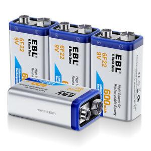 4PCS-EBL-600mAh-9V-6F22-Rechargeable-Batteries-9-Volt-Li-ion-Battery-for-MIC-RC