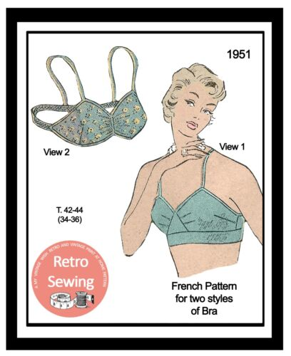 Patrón francés Vintage Década de 1950 Sujetador patrón