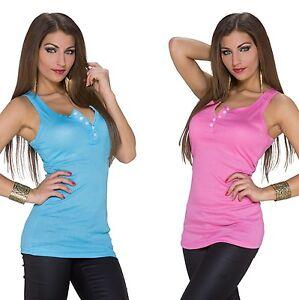 Traegertop-Tanktop-Shirt-Bluse-Top-Longtop-Longshirt-Hemd-Oberteil-Talliert-Damen