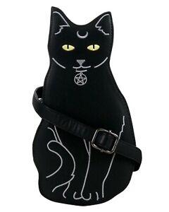 GOTHIC-CAT-BLACK-SHOULDER-HANDBAG-Pagan-Pentagram-GOTHX-Vegan-Leather-PU-Bag