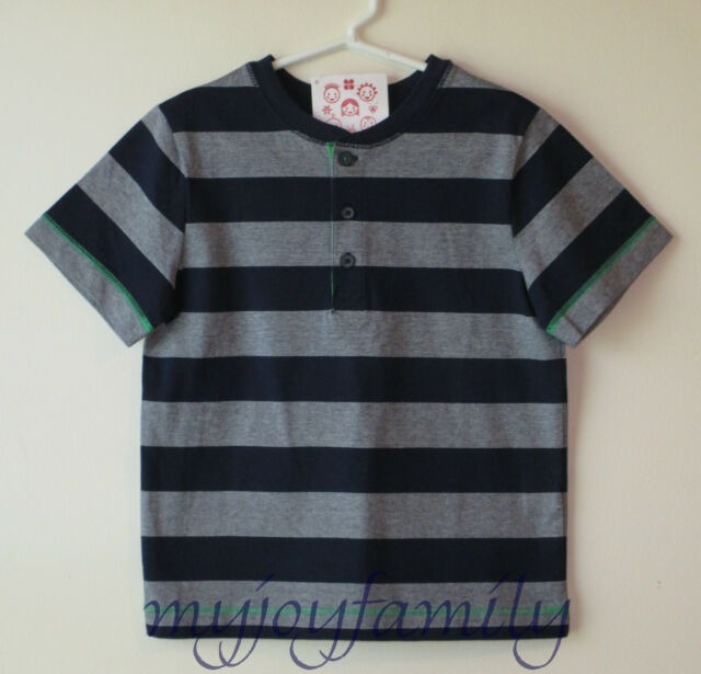 HANNA ANDERSSON Striped Henley Tee Shirt Navy Blue 110 5 NWT