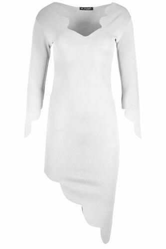 New Ladies Asymmetric Scallop Hem Long Top Womens Side Slant Tunic Midi Dresses