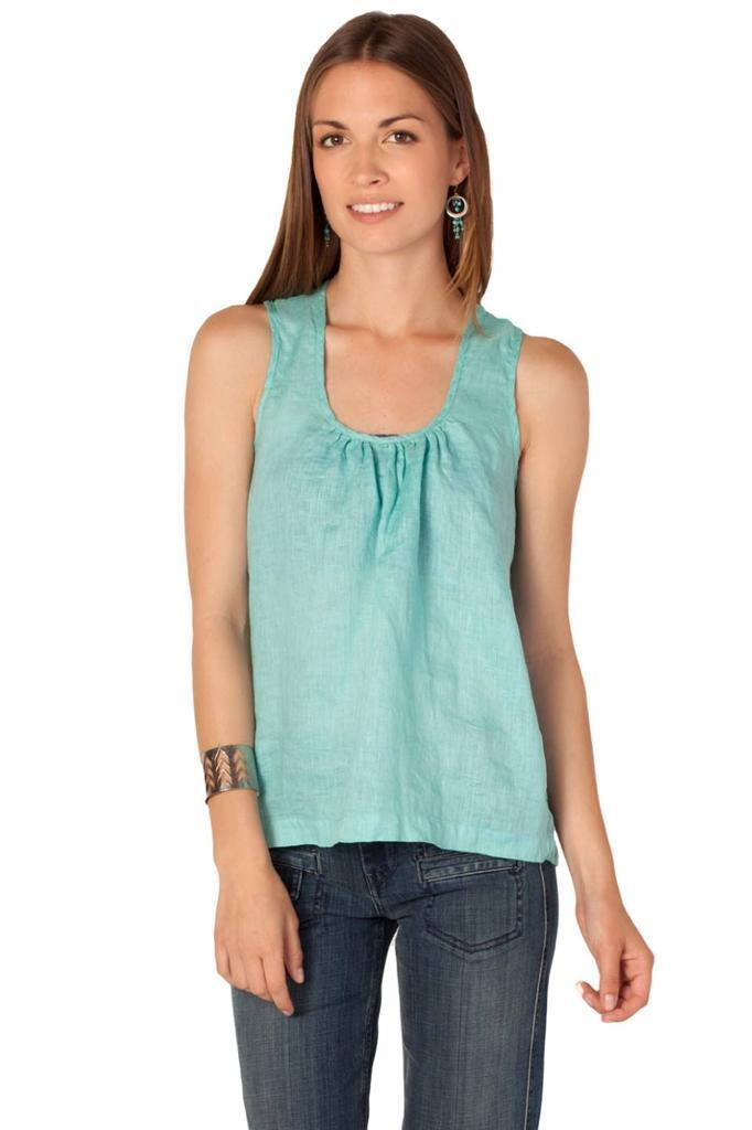 CP Shades Luz Backless Tank Caribbean Sleevele Top Shirt Linen Grün Tie Handmad