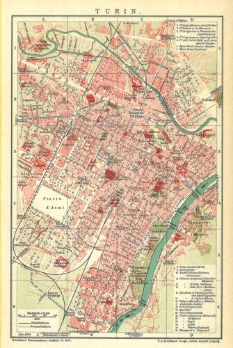 Historische alte Stadtkarte 1903 B14RA Turin Stadtplan Italien Po