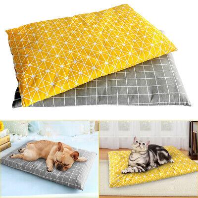 Dog Cat Pet Bed Mat Crate Kennel Cage Fleece Sherpa Pad Reversible Bone Print