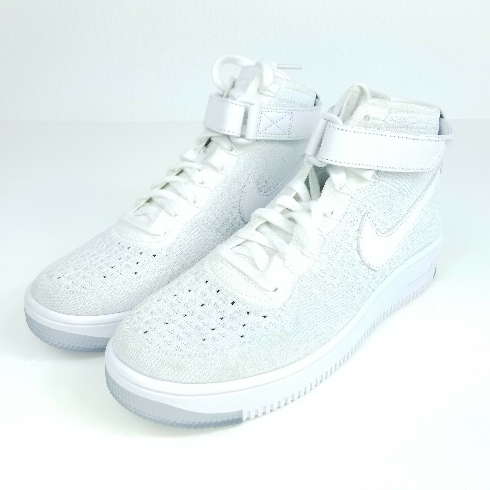 NIKE AF1 Flyknit Womens Sz 9.5 Shoes White/Pure Platinum 818018 100