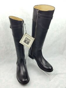 3f83d143ed01 NWOB Frye Molly Button Black Leather Side Zip Tall Riding Boots ...