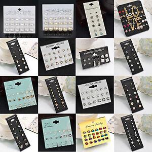 12Pair-Elegant-Women-Rhinestone-Crystal-Pearl-Earrings-Set-Jewelry-Ear-Stud-Gift