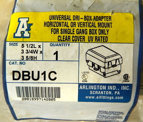 Arlington Ind Horizontal//Vertical Single Gang Box WP Cover Ships Free in US
