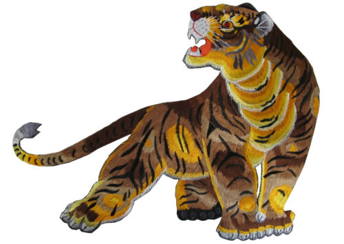 "#4368 12""x9"" Embroidery Iron On Tiger Applique Patch"