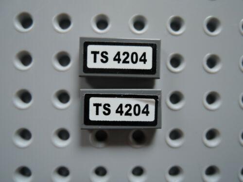 Lego 2 x Fliese 3069 1x2 neu dunkelgrau KFZ Nummernschild TS 4204